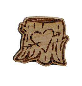 Carved Heart Stump Enamel Pin