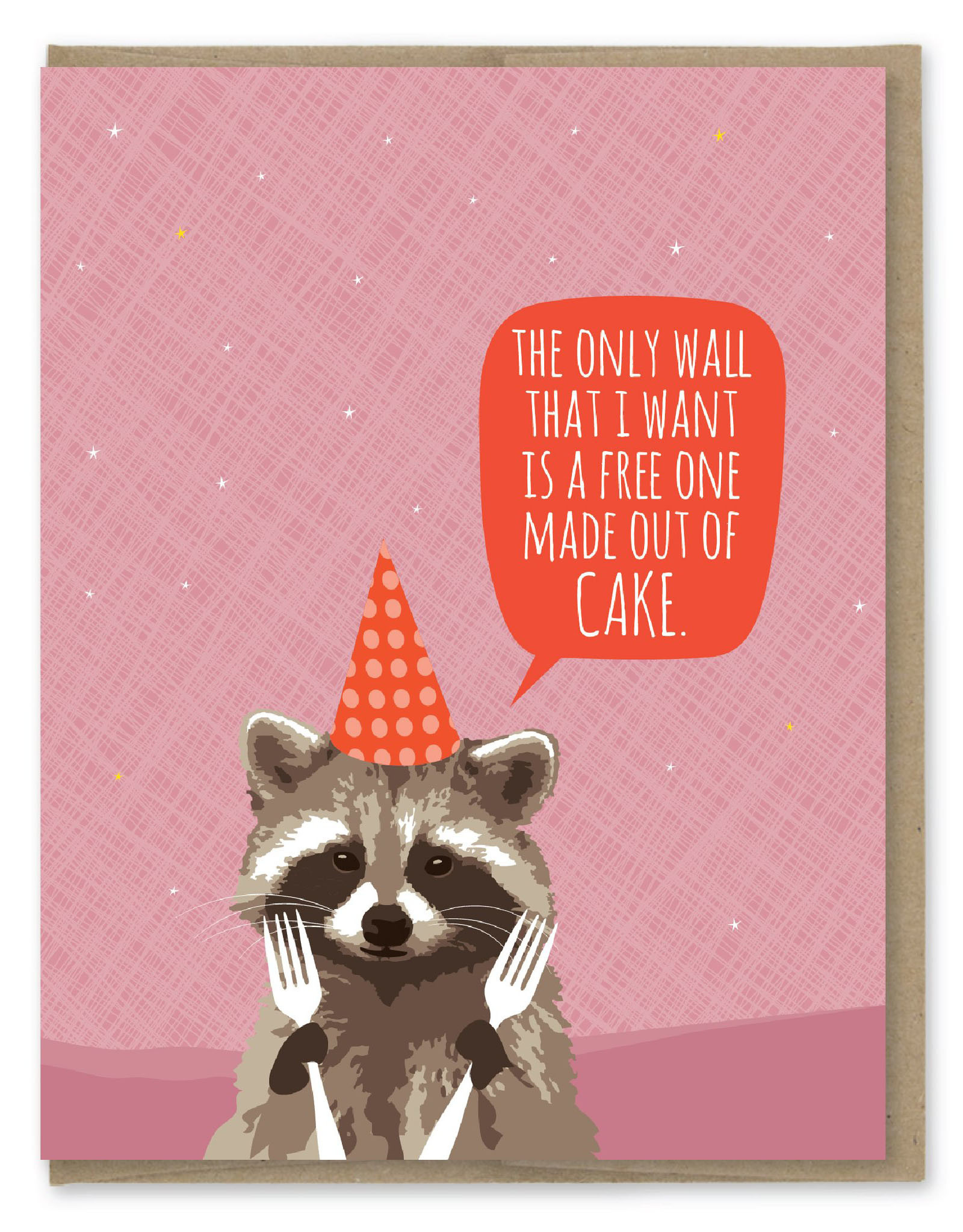 Raccoon Cake Wall Birthday Greeting Card