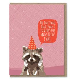 Modern Printed Matter Raccoon Cake Wall Birthday Greeting Card