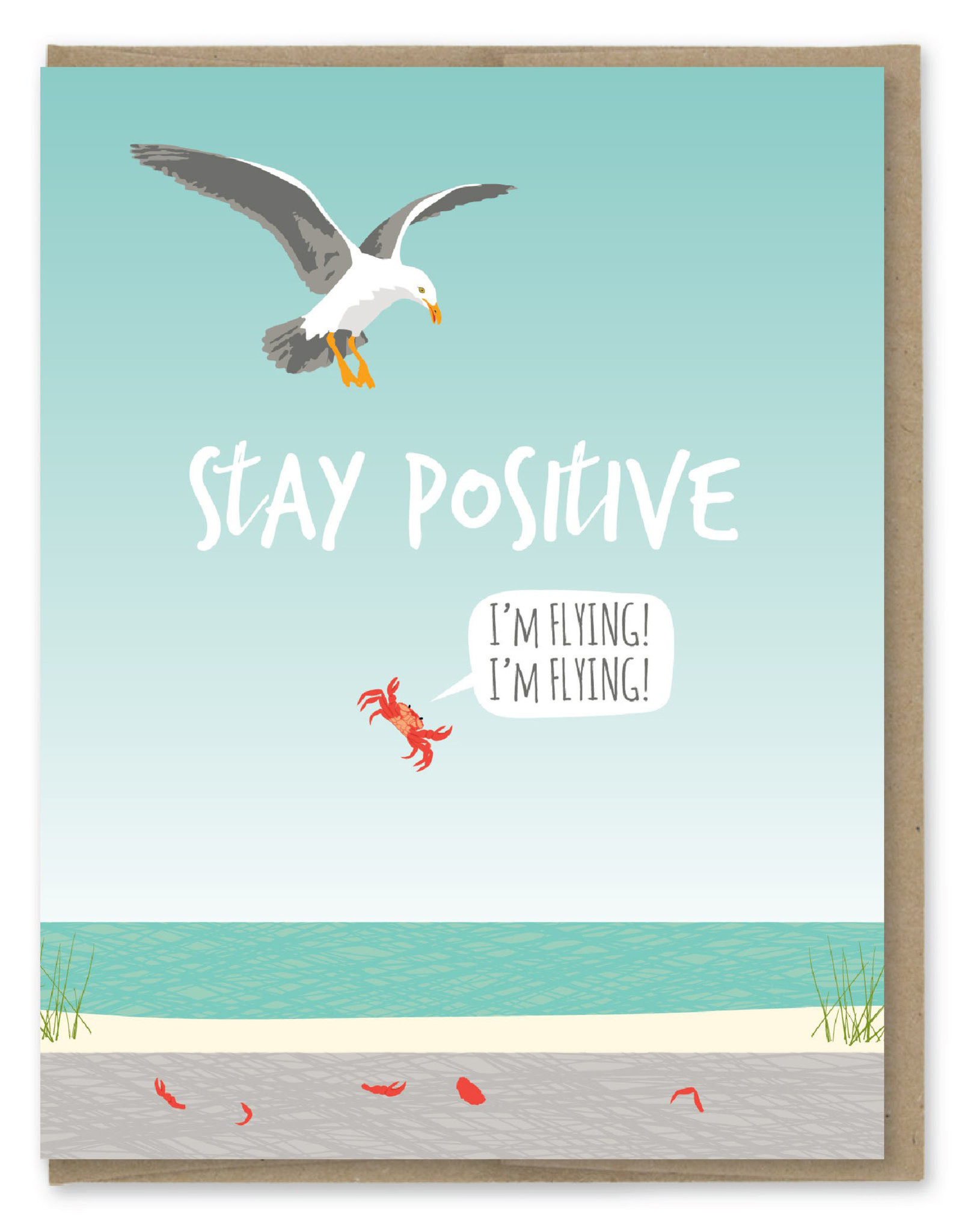 Stay Positive Crab Greeting Card