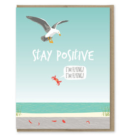Modern Printed Matter Stay Positive Crab Greeting Card