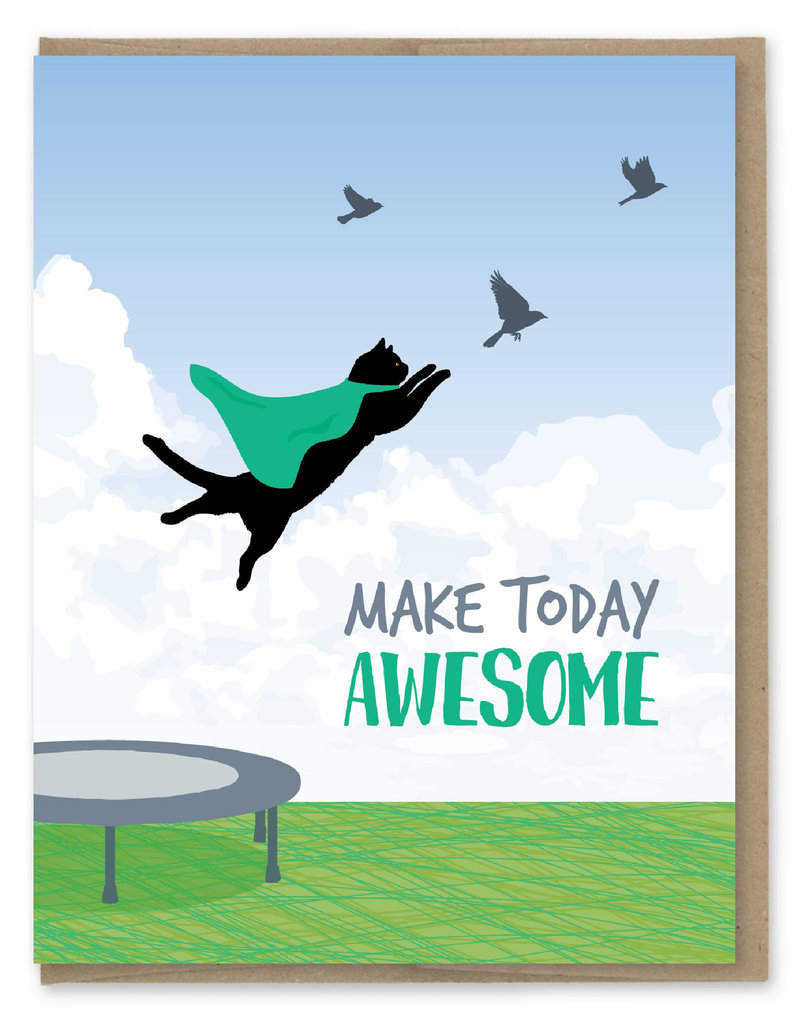 Modern Printed Matter Make Today Awesome Cat Greeting Card