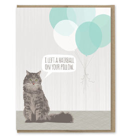 Modern Printed Matter Hairball Birthday Card