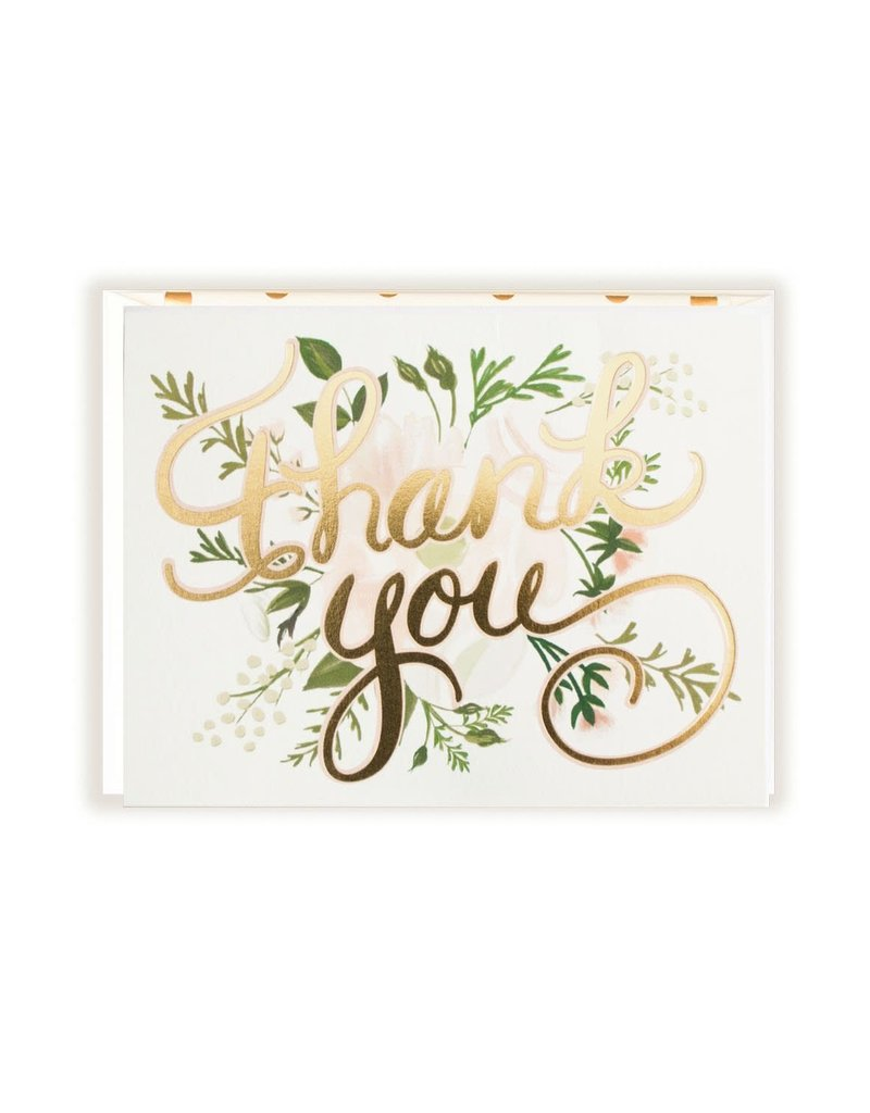 The First Snow Gold Foil Thank You (Florals) Greeting Card