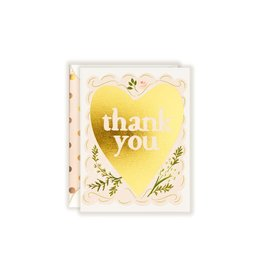 Gold Foil Thank You (Floral Heart) Greeting Card