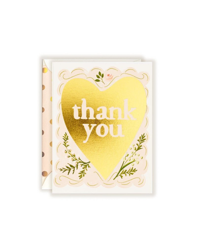 The First Snow Gold Foil Thank You (Floral Heart) Greeting Card