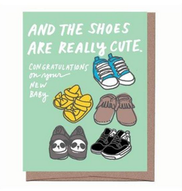 La Familia Green Really Cute Baby Shoes Greeting Card