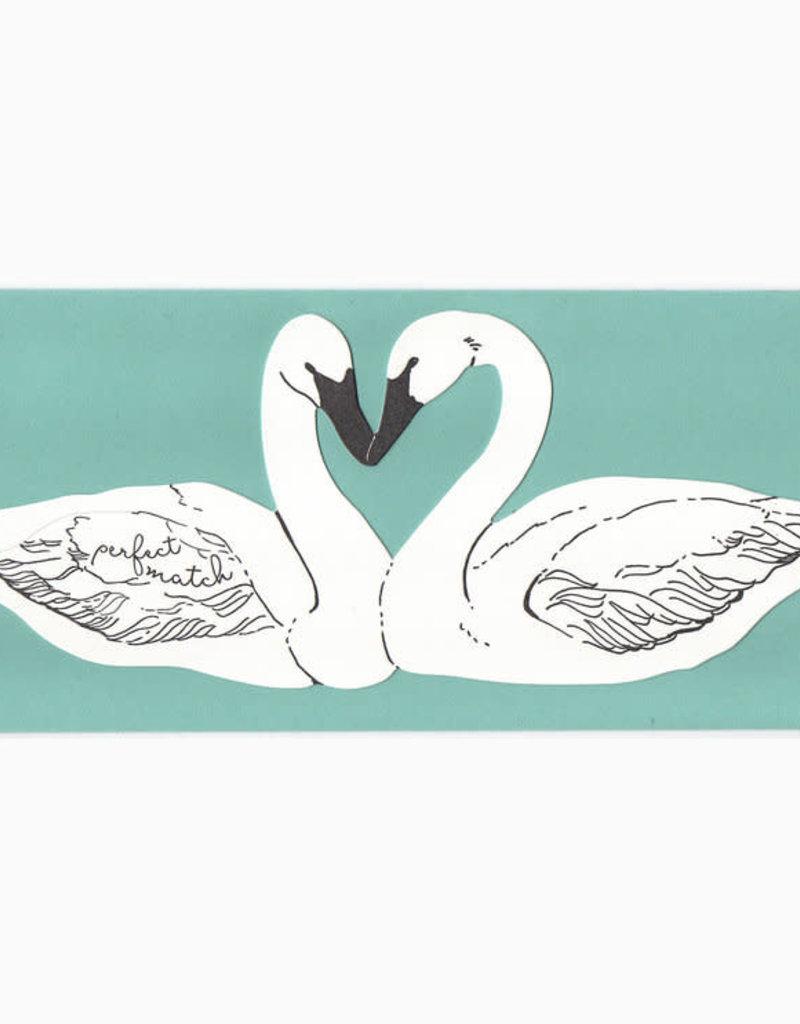 Blackbird Letterpress Perfect Match (Swans) Greeting Card