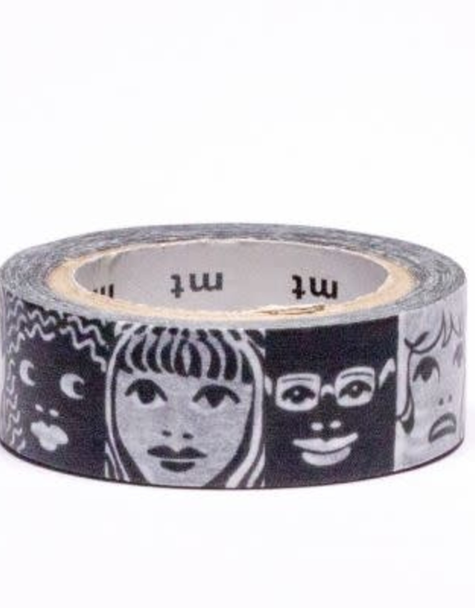 Black & White Faces Washi Tape