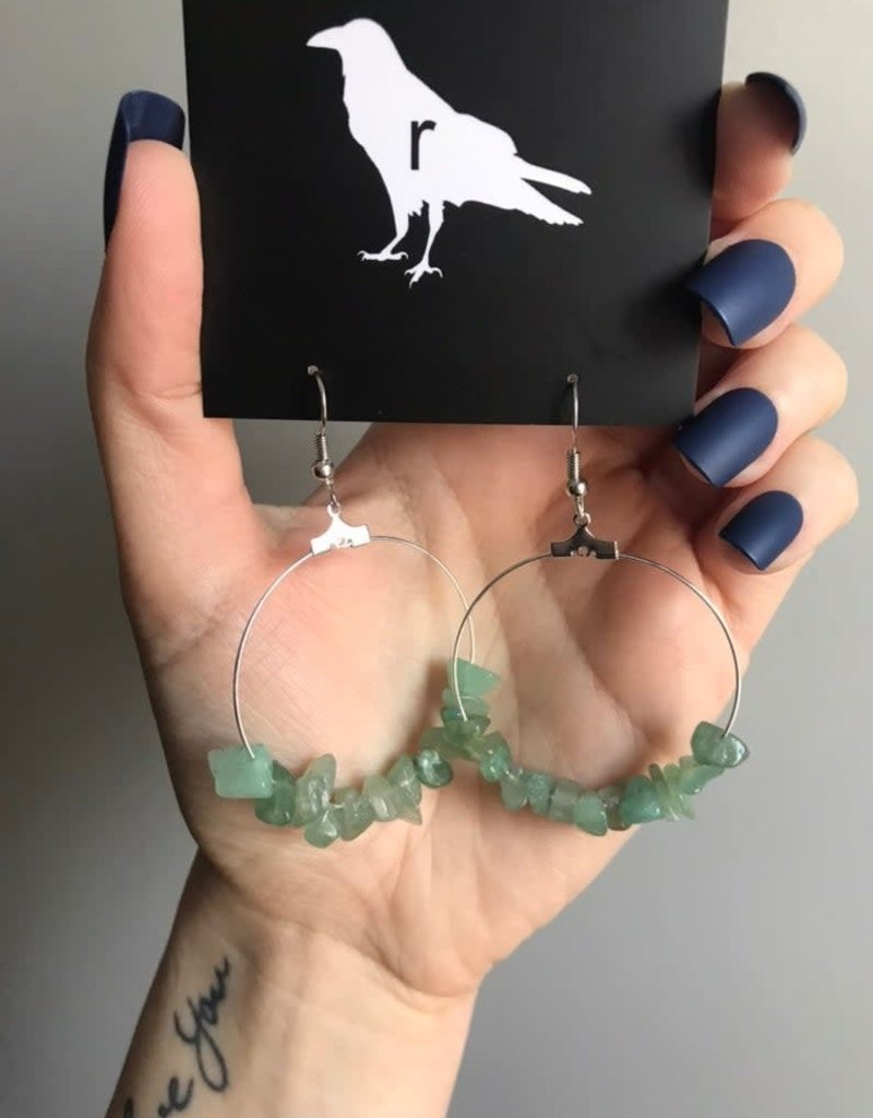 Ravenstone Green Aventurine Hoop Earrings