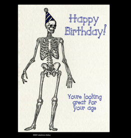 Lady Pilot Letterpress Happy Birthday Skeleton Greeting Card