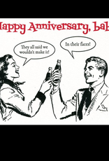 Lady Pilot Letterpress Happy Anniversary, Baby, In their faces! Greeting Card