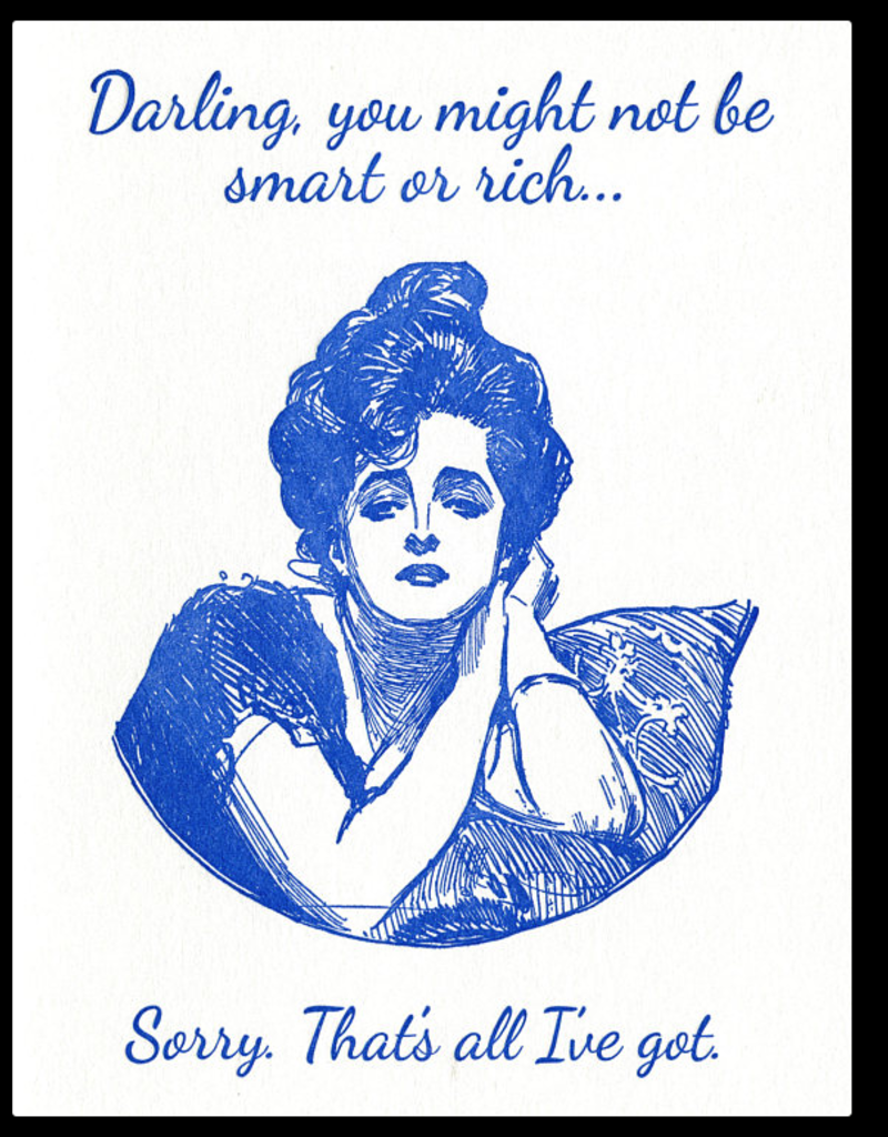 Lady Pilot Letterpress Darling, You Might Not Be Smart or Rich... Greeting Card