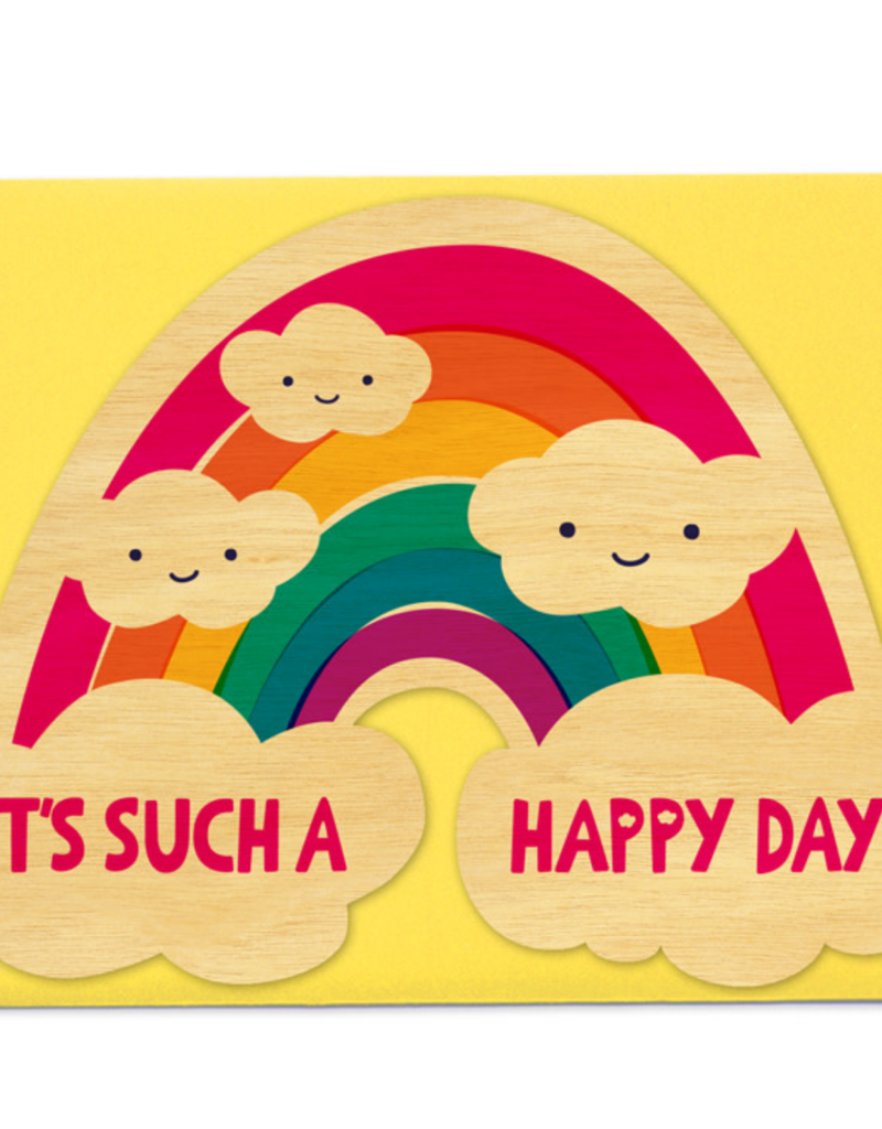 Night Owl Paper Goods It's Such A Happy Day Wooden Greeting Card