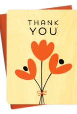Thank You Graphic Tulips Wooden Greeting Card