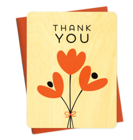 Night Owl Paper Goods Thank You Graphic Tulips Wooden Greeting Card