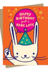 Night Owl Paper Goods Happy Birthday just a Hare Late Greeting Card