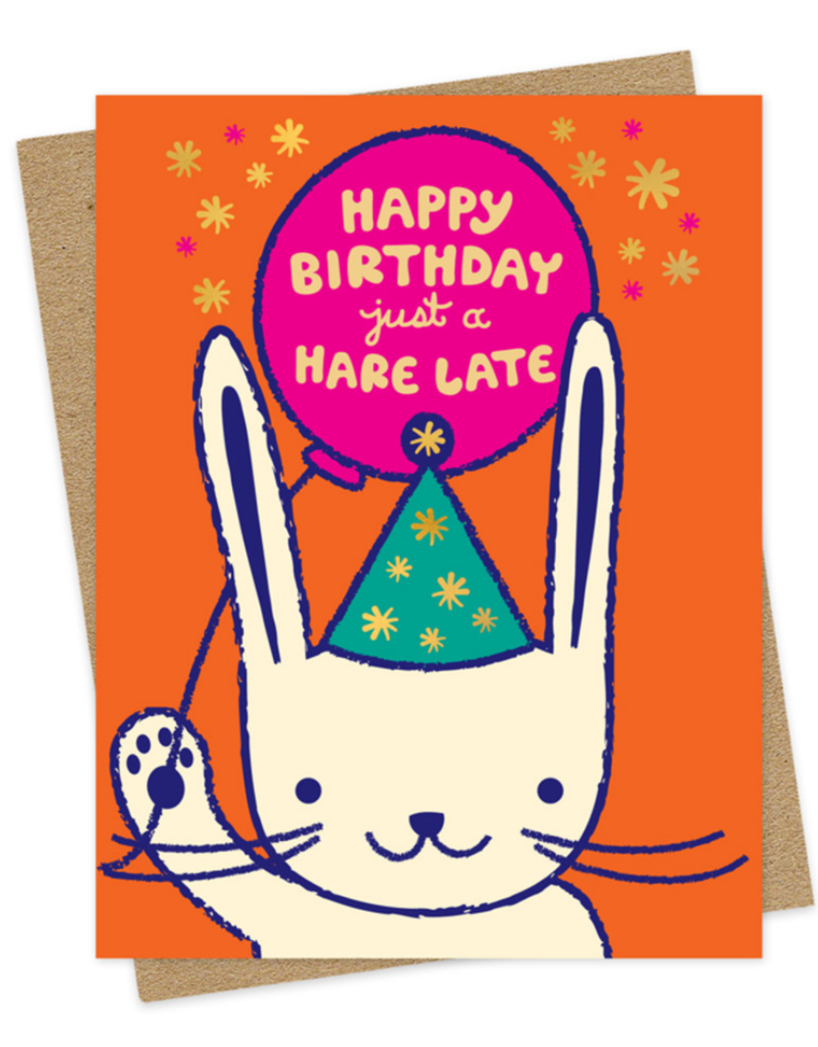 Happy Birthday just a Hare Late Greeting Card
