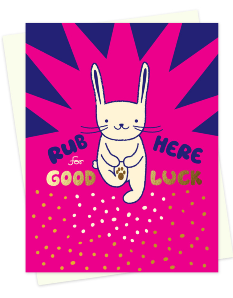 Night Owl Paper Goods Rub Here for Good Luck Rabbit Greeting Card