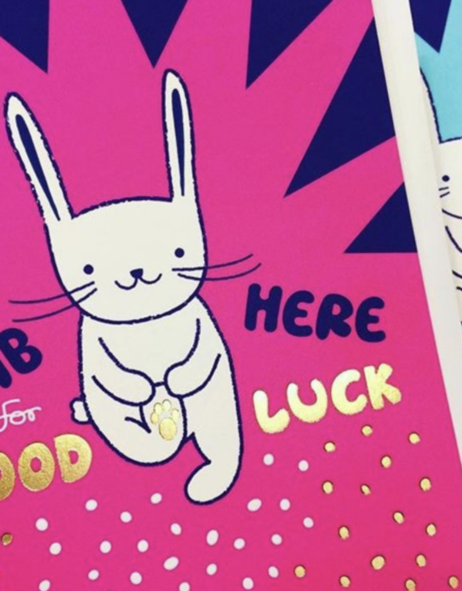 Rub Here for Good Luck Rabbit Greeting Card