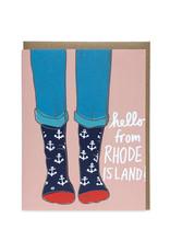 La Familia Green Hello from Rhode Island (Anchor Socks) Greeting Card