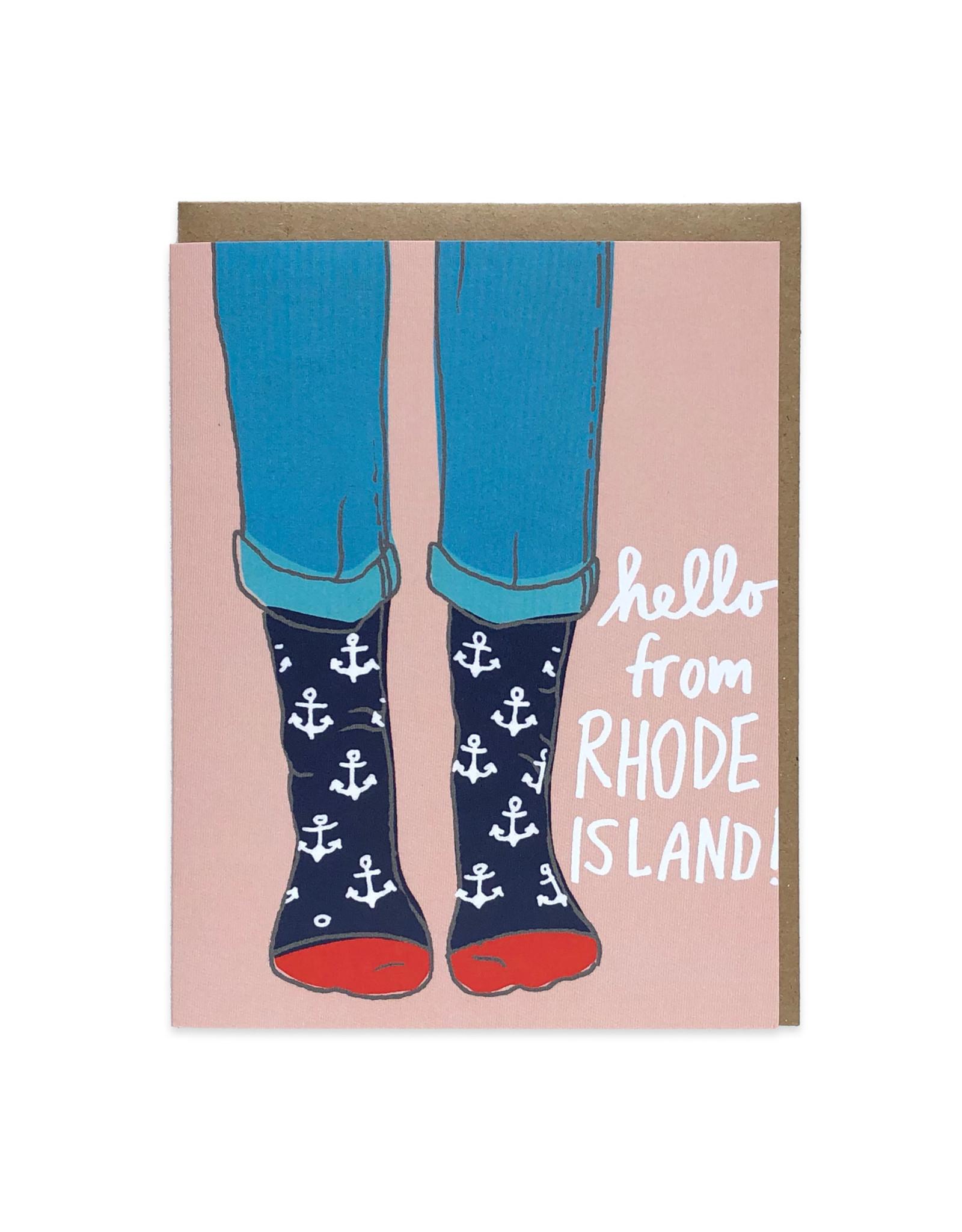 Hello from Rhode Island (Anchor Socks) Greeting Card