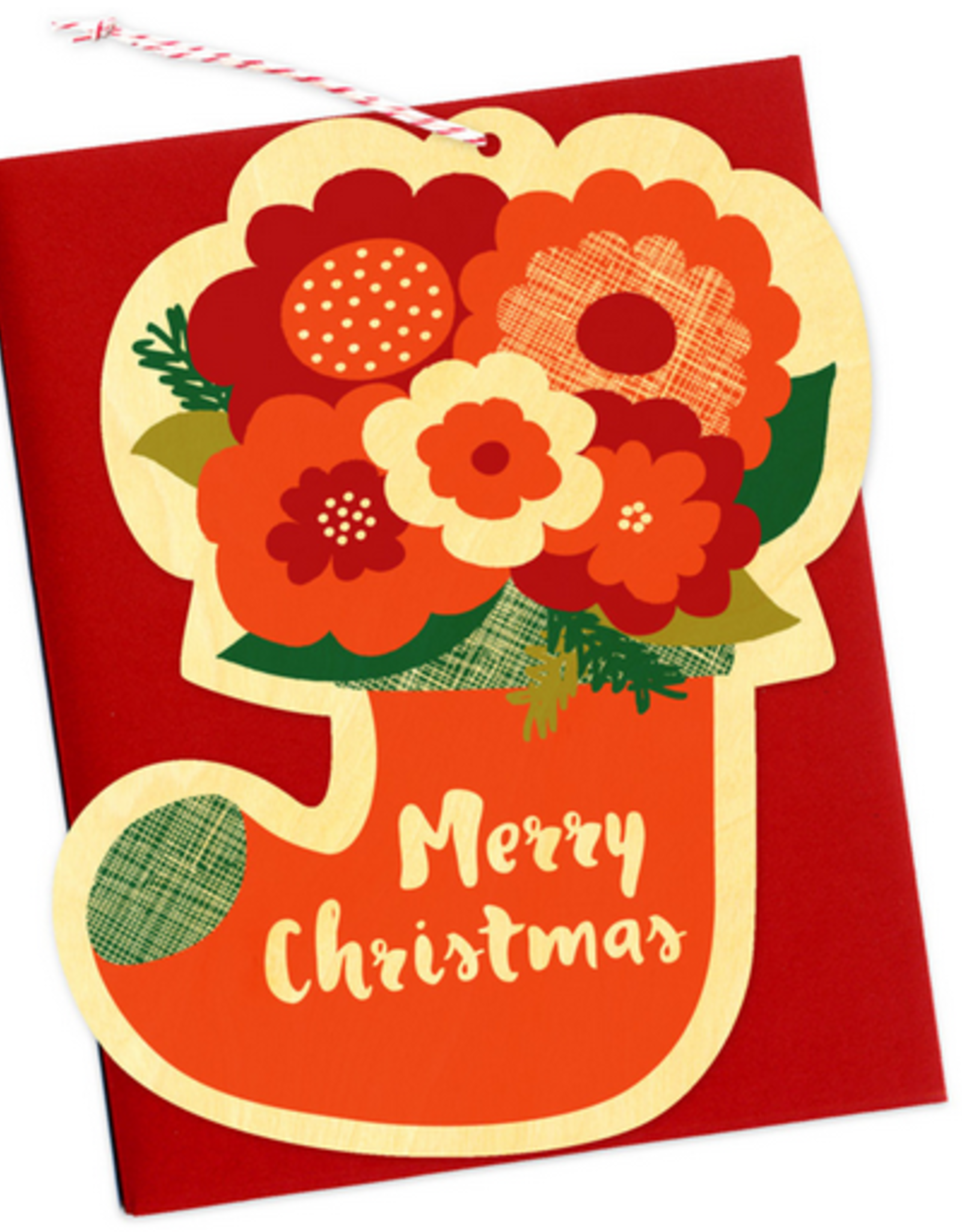 Flower Stocking Wooden Ornament Holiday Card
