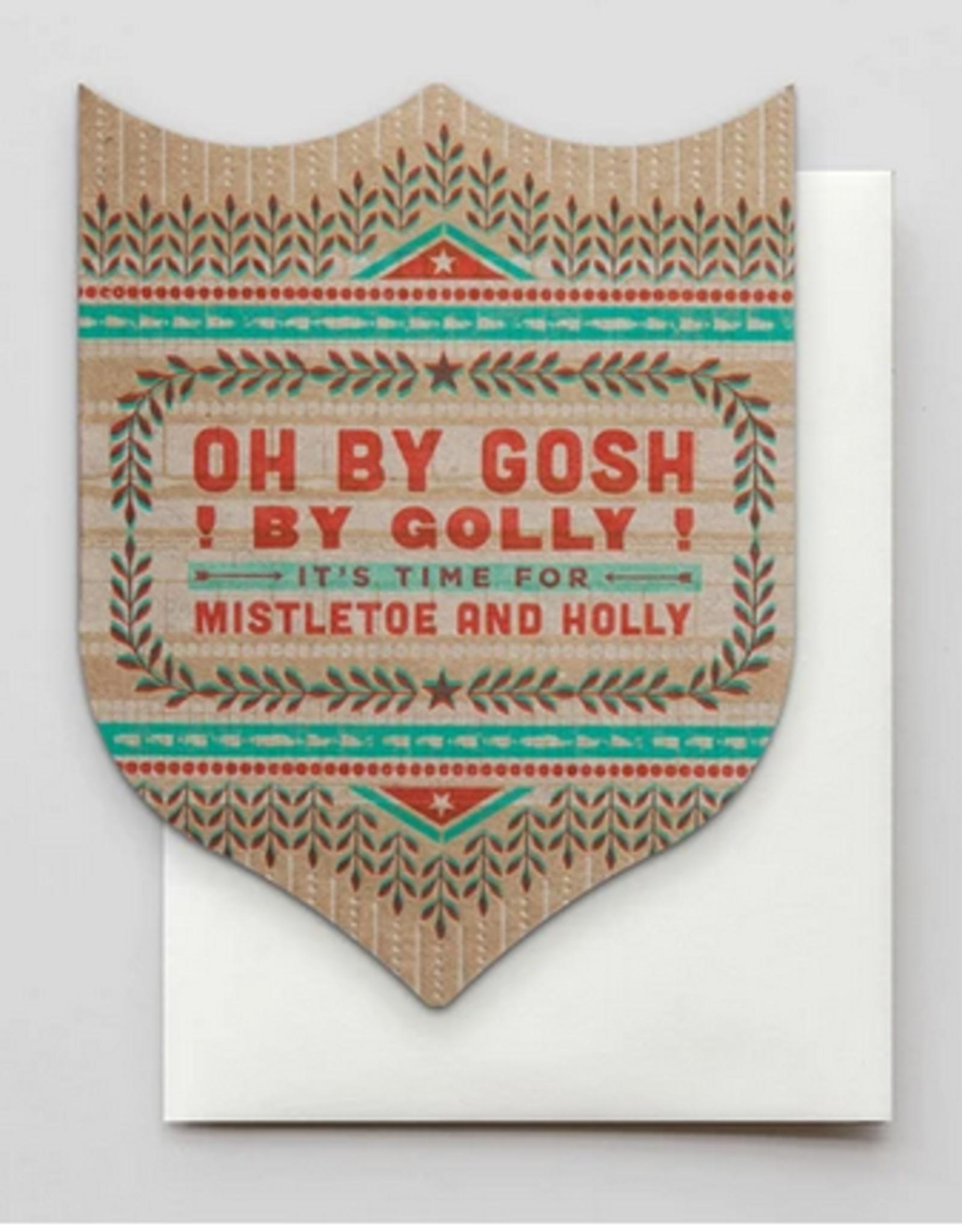 Mistletoe and Holly Holiday Card