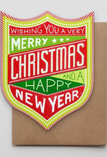 Merry Christmas & Happy New Year Badge Greeting Card