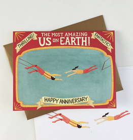 Happy Anniversary Trapeze Artists Greeting Card
