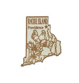 Laser Cut Wood Rhode Island Magnet