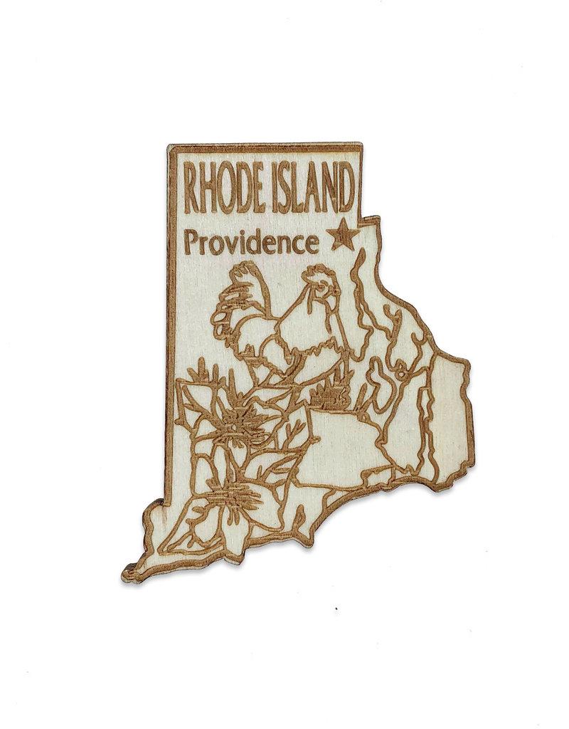 Sojourn Souvenirs Laser Cut Wood Rhode Island Magnet
