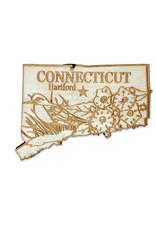 Sojourn Souvenirs Laser Cut Wood Connecticut Magnet