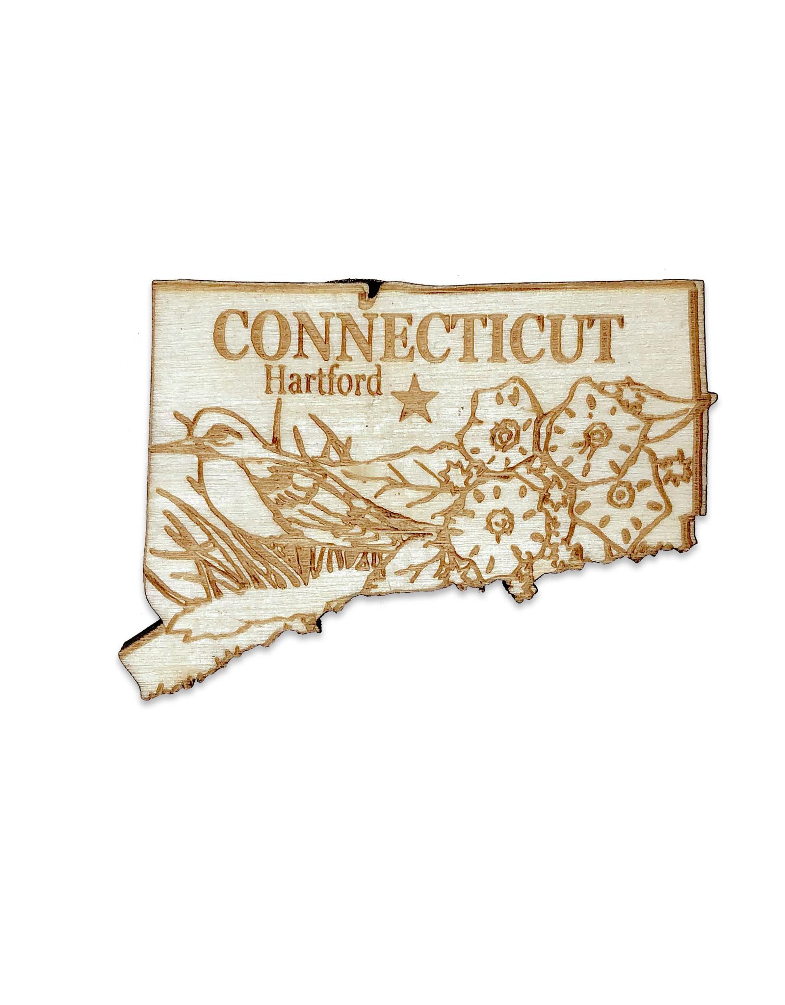 Laser Cut Wood Connecticut Magnet