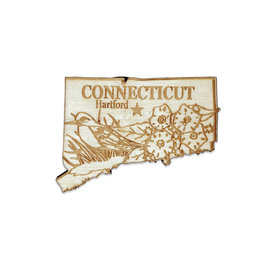 Laser Cut Wood Connecticut Magnet