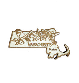 Sojourn Souvenirs Laser Cut Wood Massachusetts Magnet
