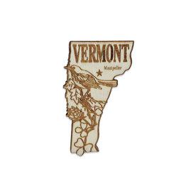 Laser Cut Wood Vermont Magnet