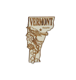 Sojourn Souvenirs Laser Cut Wood Vermont Magnet