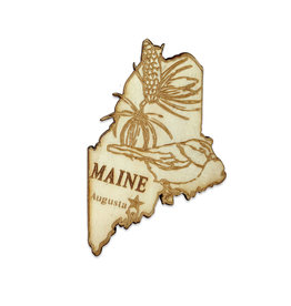 Sojourn Souvenirs Laser Cut Wood Maine Magnet