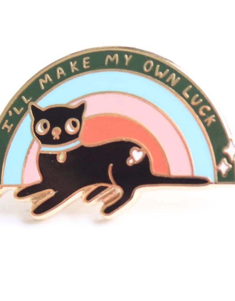 Tender Ghost Make Your Own Luck Cat & Rainbow Pin