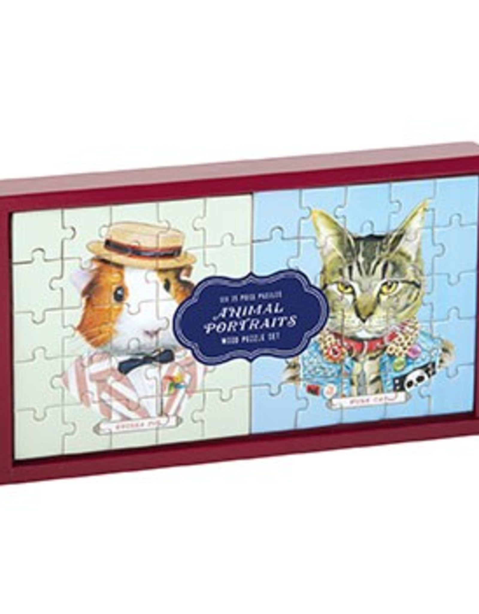 Galison Animal Portraits Wooden Puzzle Set of 6