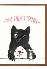 Blackbird Letterpress Best Friends Forever Zombie Cat & Mouse Greeting Card