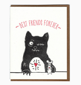 Blackbird Letterpress Best Friends Forever Zombie Cat & Mouse Greeting Card