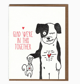 Glad We're in This Together Dog & Squirrel Zombies Greeting Card