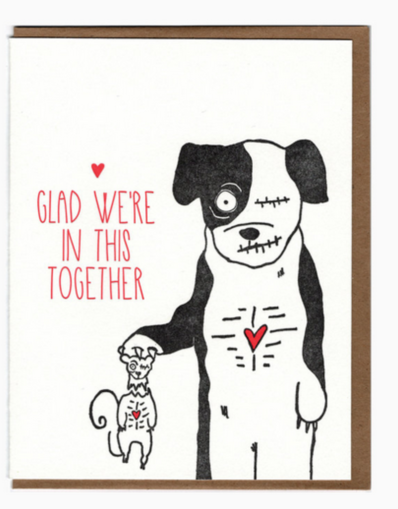 Blackbird Letterpress Glad We're in This Together Dog & Squirrel Zombies Greeting Card