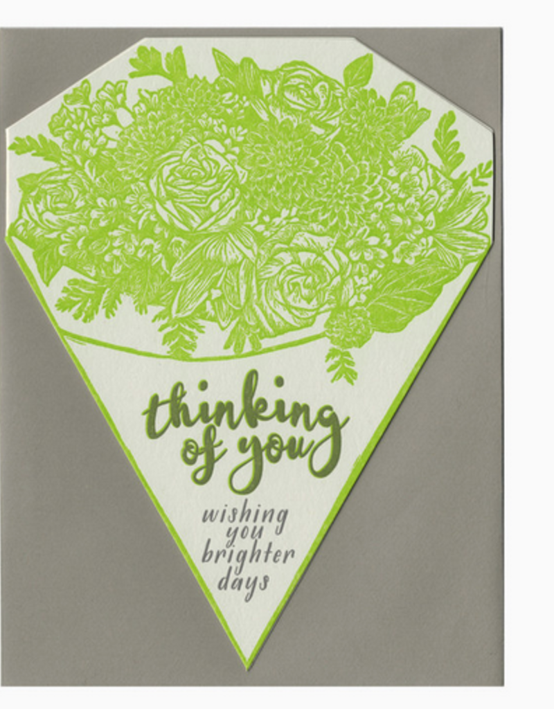 Blackbird Letterpress Thinking Of You, Wishing You Brighter Days Bouquet Greeting Card
