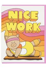 Lucky Horse Press Nice Work Aerobics Pig Greeting Card