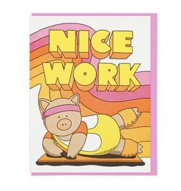 Nice Work Aerobics Pig Greeting Card