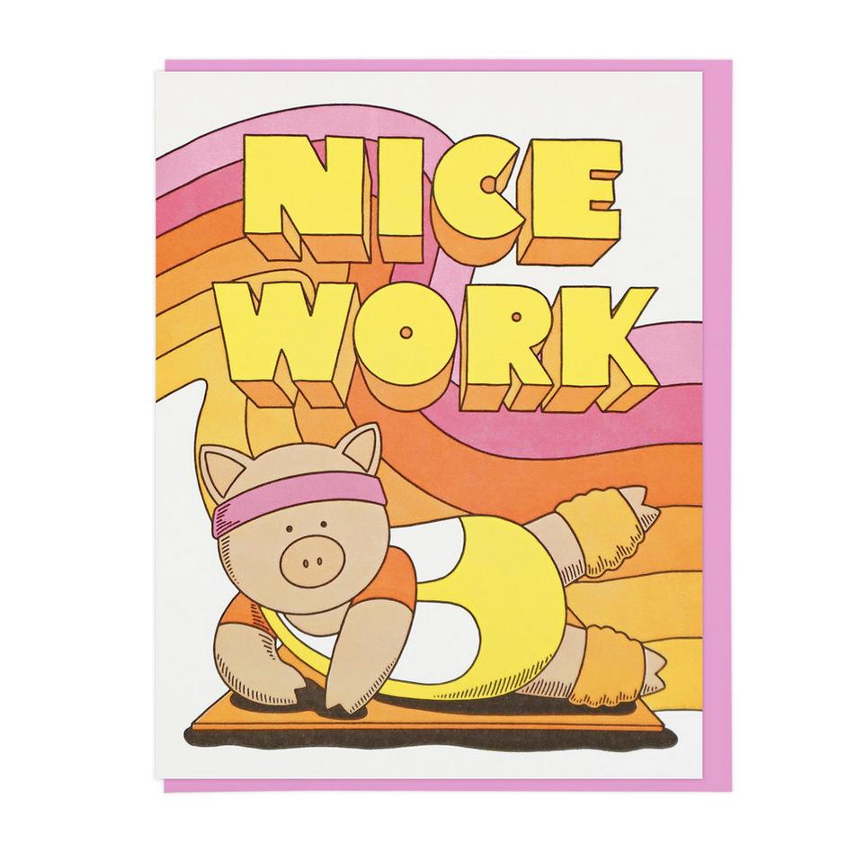 Nice Work Aerobics Pig Greeting Card Home