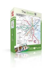 New York Puzzle Company Boston T Map - 500 Piece Puzzle